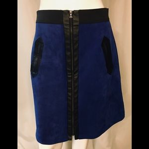 ECI blue faux suede skirt